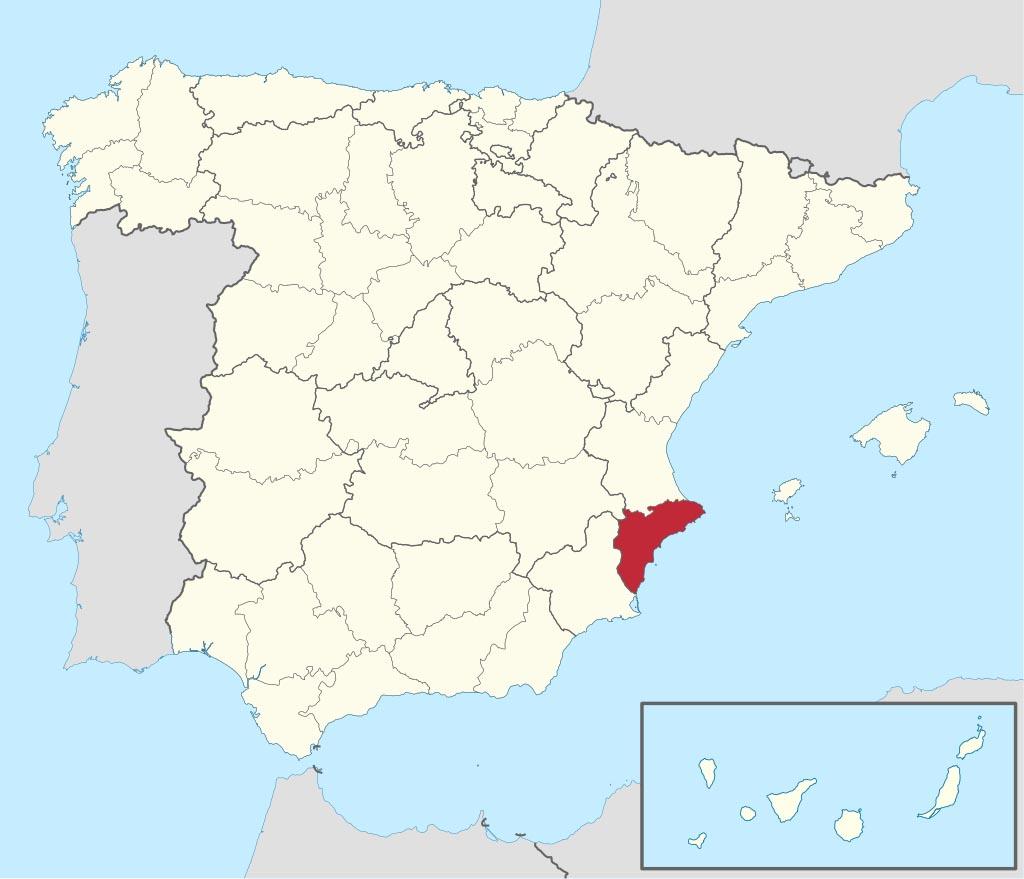 Провинция Аликанте (Alicante) на карте �спании