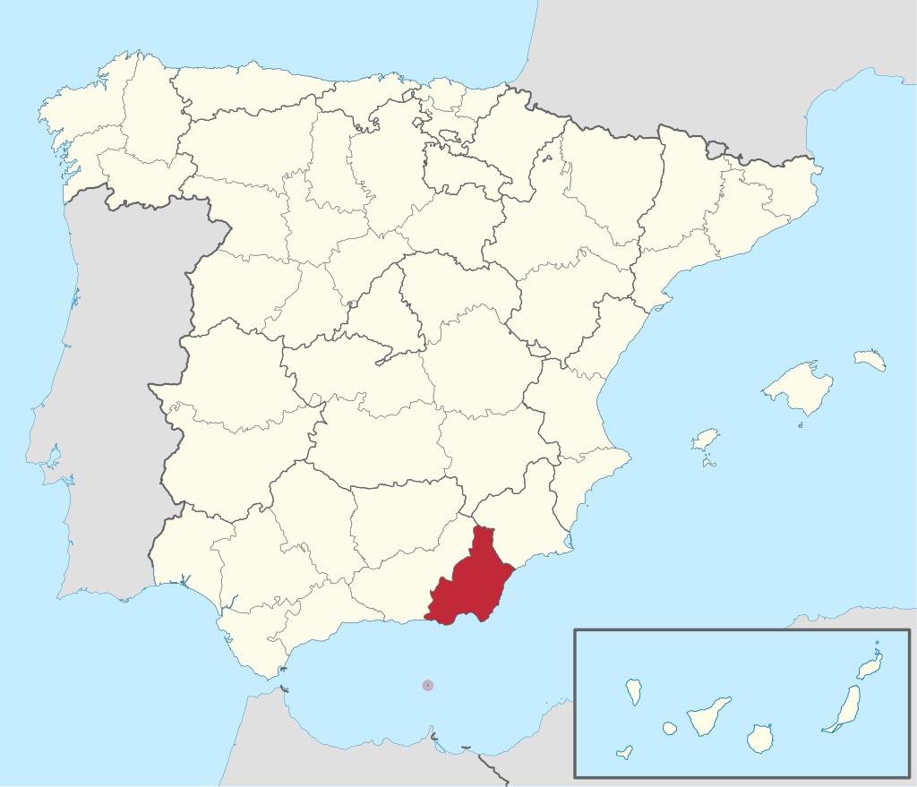 Провинция Альмерия (Almería) на карте �спании