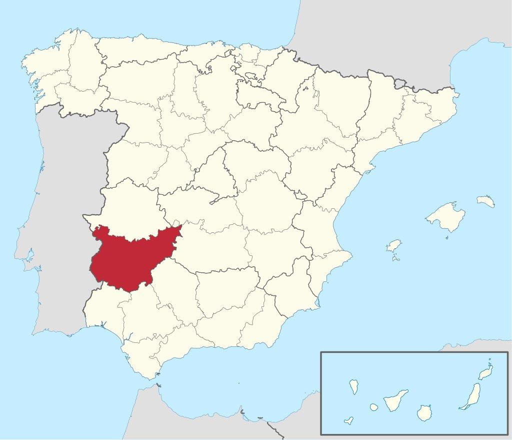Провинция Бадахос (Badajoz) на карте �спании
