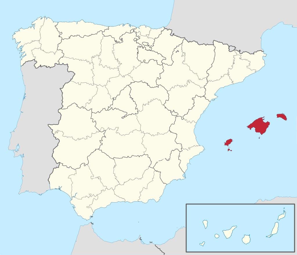 Провинция Балеарские острова (Baleares) на карте �спании