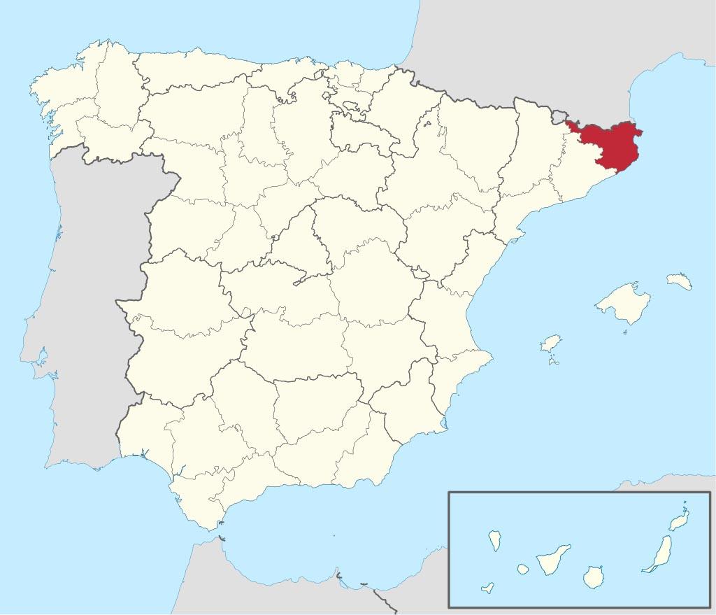 Провинция Жирона (Gerona) на карте �спании