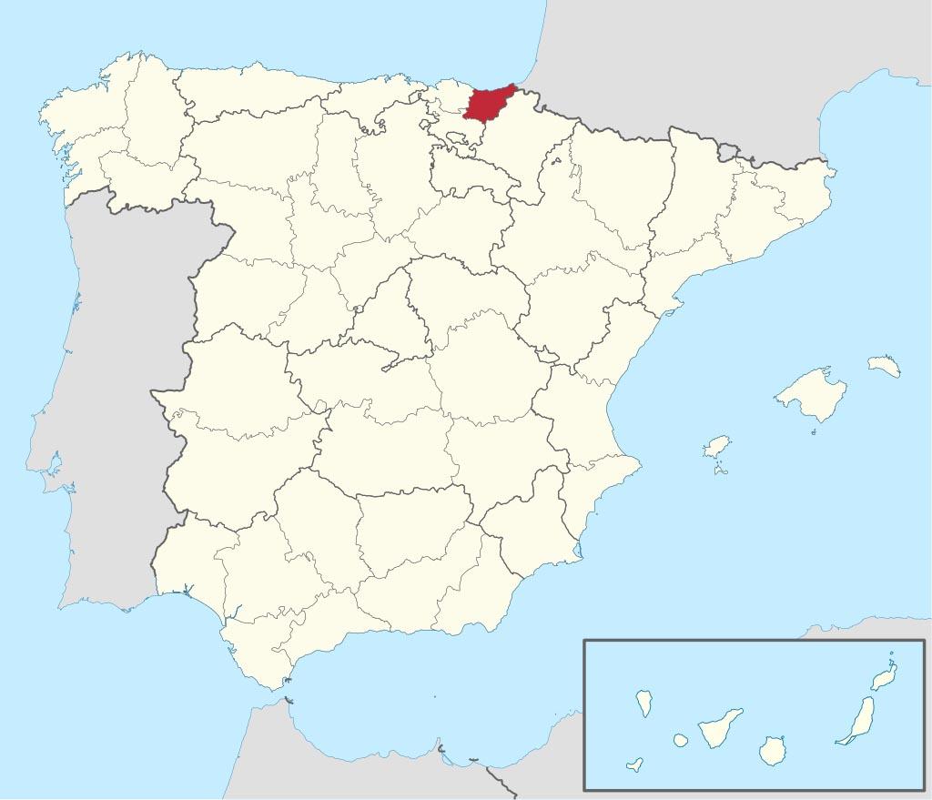 Провинция Гипускоа (Guipúzcoa) на карте �спании
