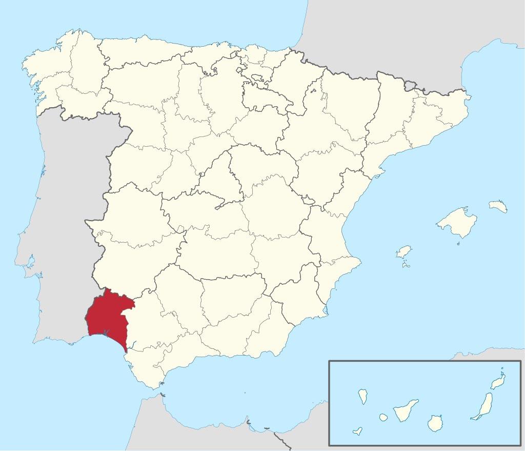 Провинция Уэльва (Huelva) на карте �спании