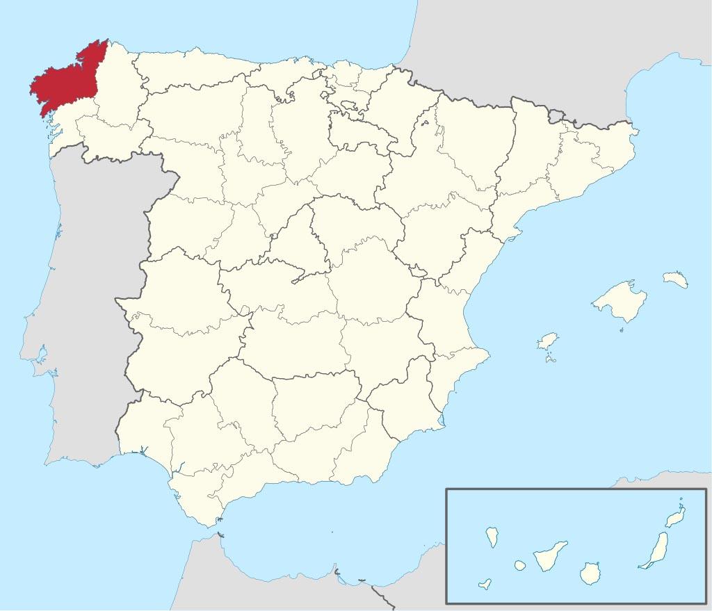Провинция Ла-Корунья (La Coruña) на карте �спании