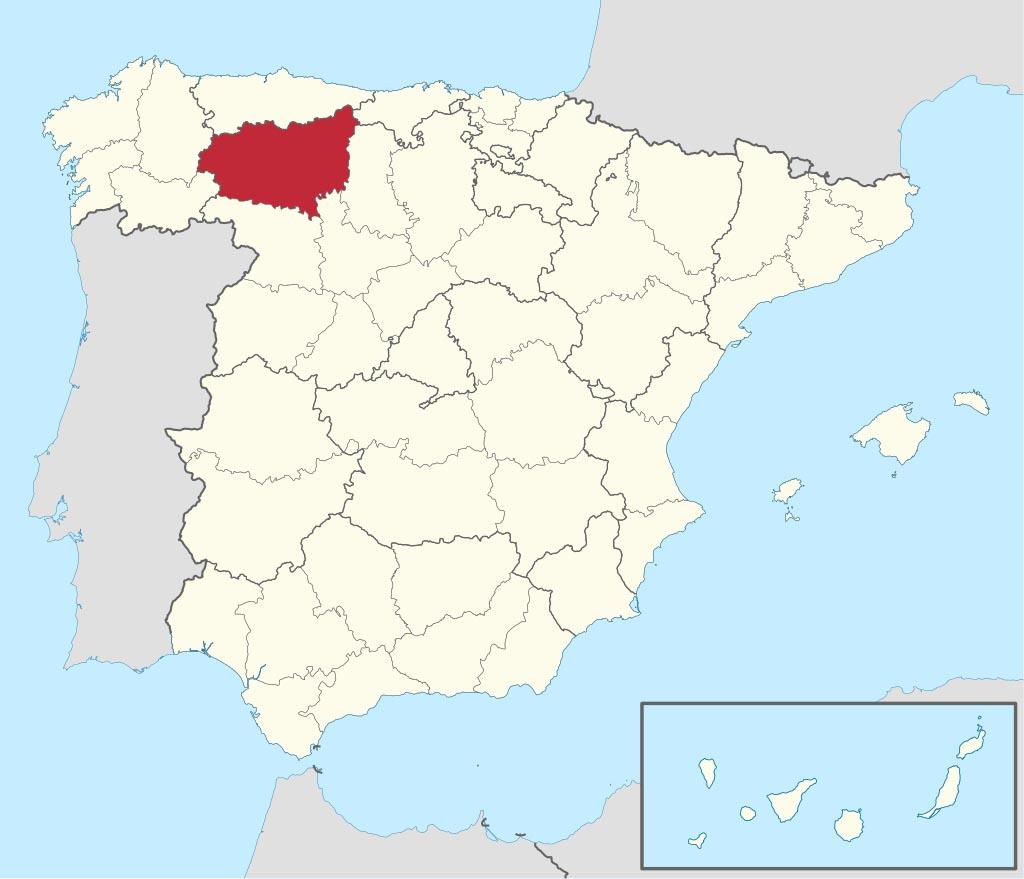 Провинция Леон (León) на карте �спании