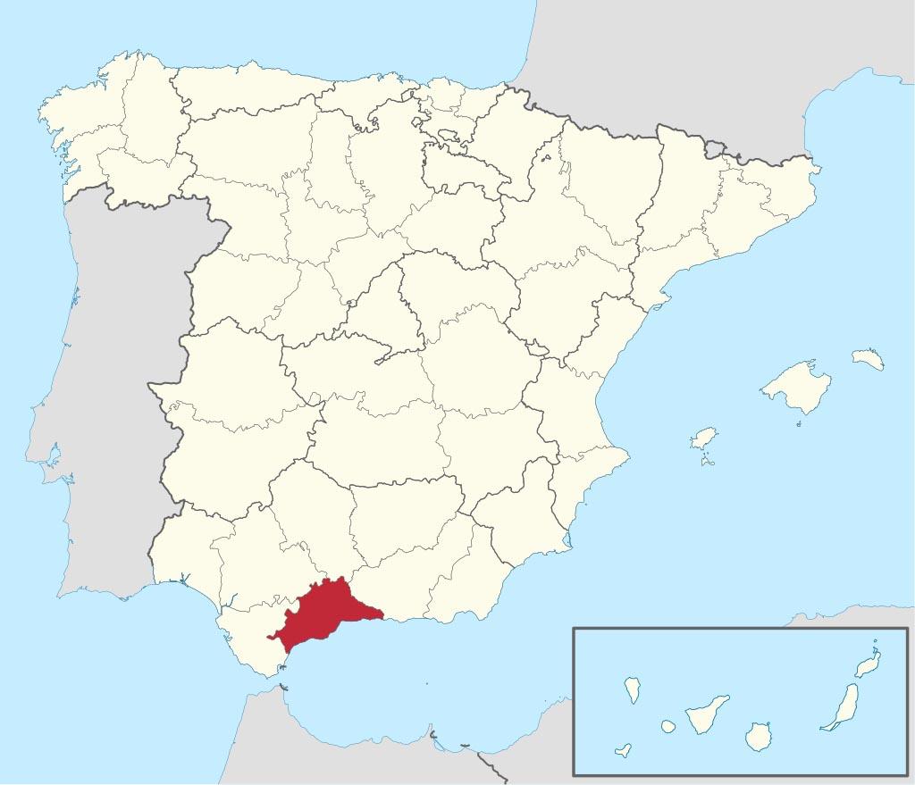 Провинция Малага (Málaga) на карте �спании