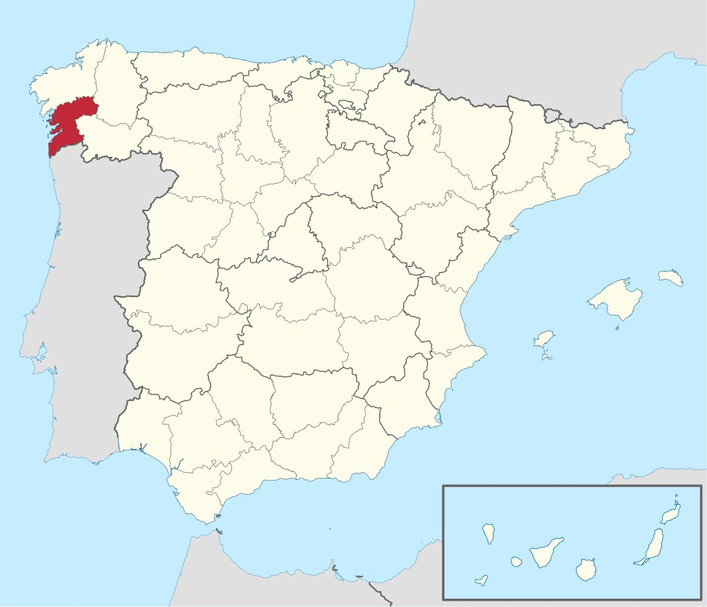 Провинция Понтеведра (Pontevedra) на карте �спании