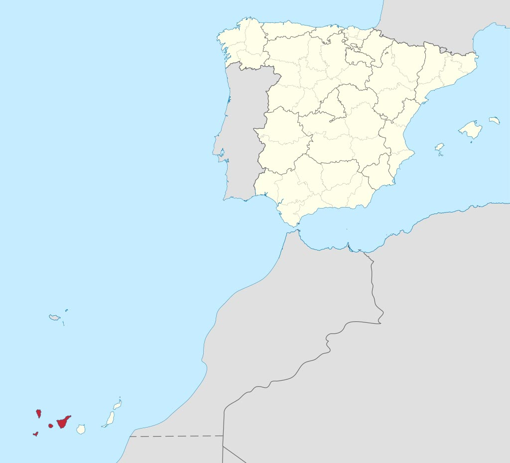 Провинция Санта-Крус-де-Тенерифе  (Santa Cruz de Tenerife) на карте �спании