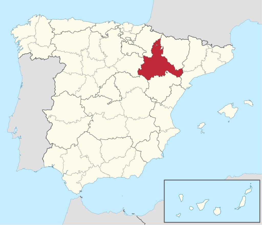 Провинция Сарагоса (Zaragoza) на карте �спании