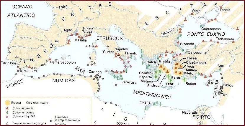 Карта Средиземноморья в период финикийской колонизации