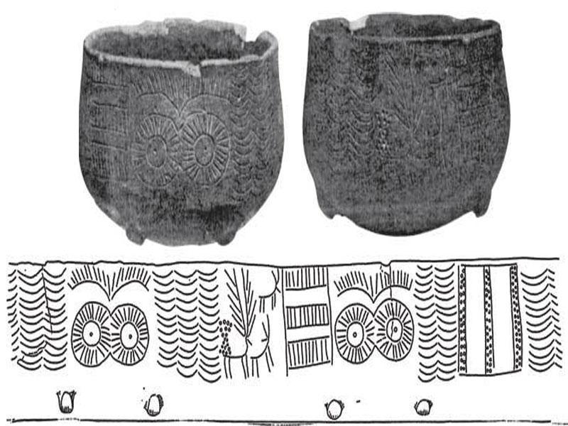 Чаши с орнаментом в солярном стиле (культура Лос Мильярес,пров. Альмерия)