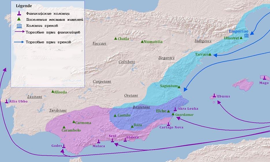 Торговые пути греков в VI - V в.в. до н.э. к испанским колониям
