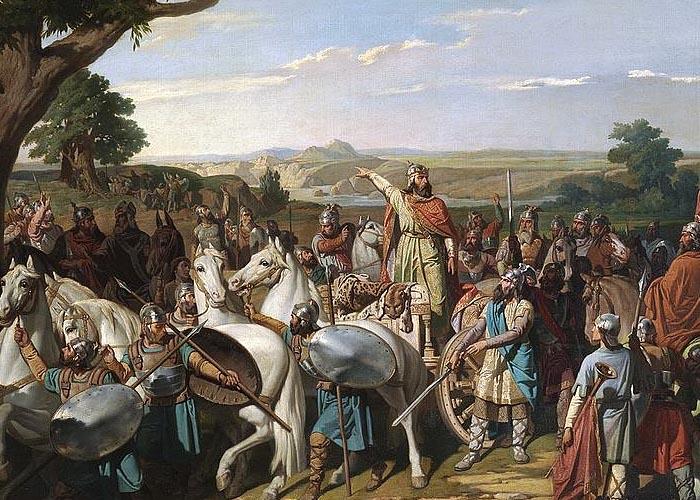 Король Родриго устраивает войска в битве при Гвадалете, 711 г.
