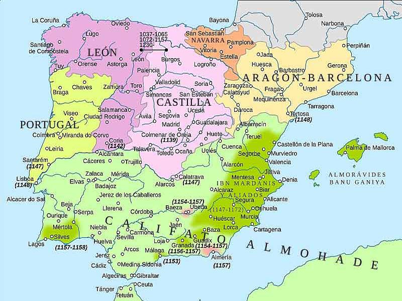 Государства Пиренейского полуострова в 1150 г.