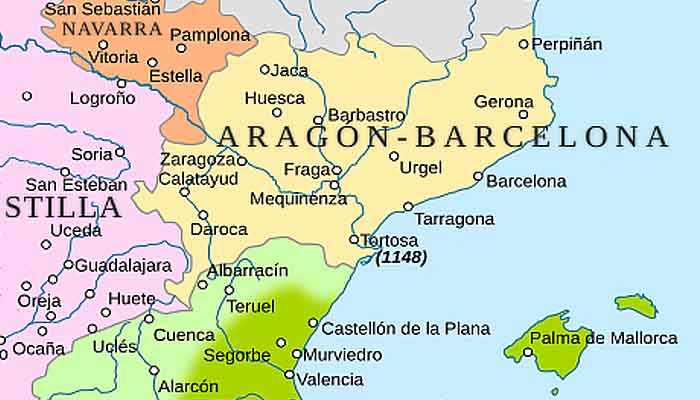 Королевство Арагон и Каталония в 1150 г.