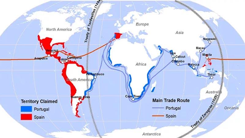 Линии раздела влияния �спании и Португалии в новых землях
