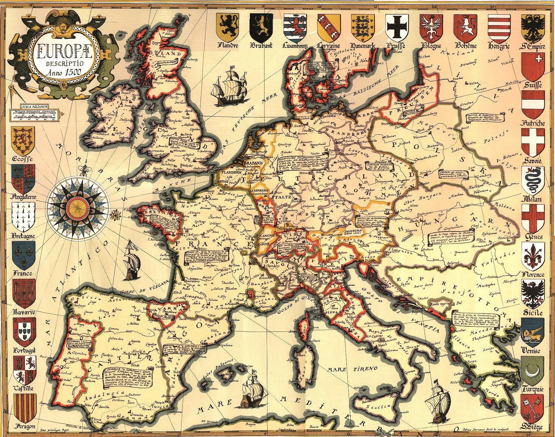 спания на карте Европы 1500 г.
