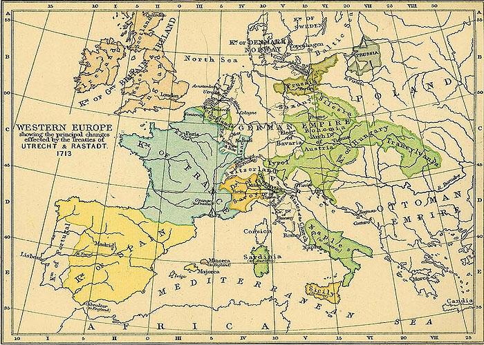 Европа по итогам Утрехтского мирного договора