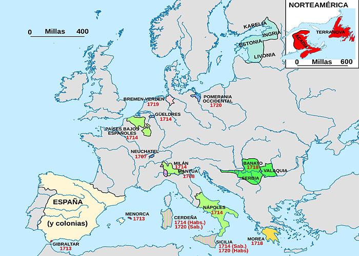 Территориальные потери �спании в первой половине XVIII века