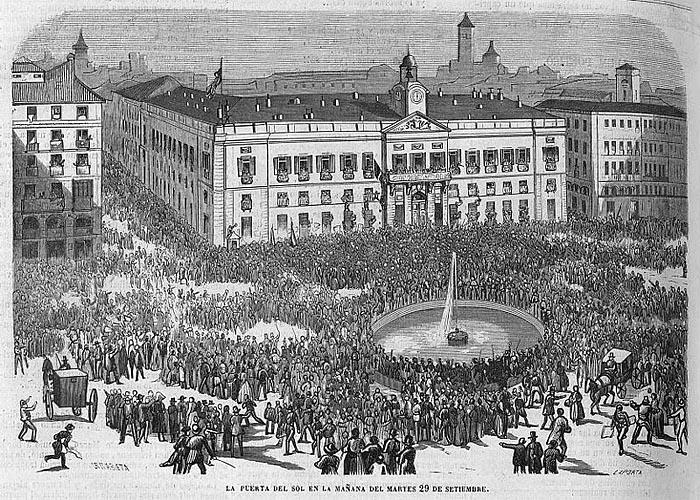 Славная революция. Мадрид, Пуэрта-дель-Соль, 1868 г.