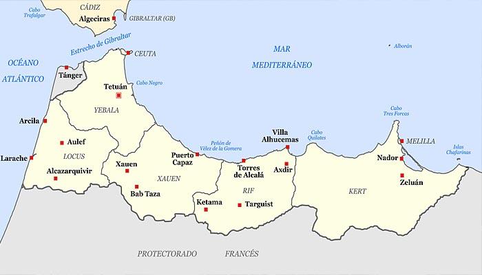 Территория испанского протектората в Марокко в 1920-х годах