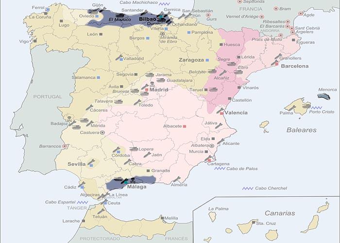 Гражданская война в �спании 1936 - 1939 г.г. Территория, захваченная франкистами к концу 1937 г.