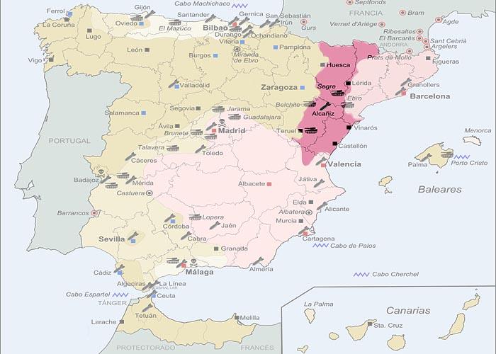 Гражданская война в �спании 1936 - 1939 г.г. Территория, захваченная франкистами к концу 1938 г.