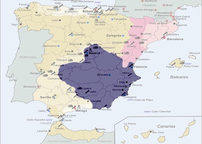 Гражданская война в �спании 1936 - 1939 г.г. Последний район под контролем республиканцев в 1939 г.