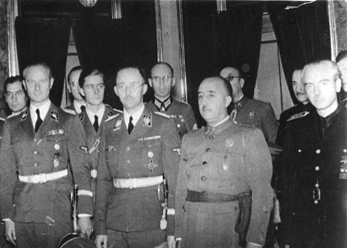 Генерал Франко с нацистским лидером Генрихом Гиммлером во время его визита в Мадрид (1940 г.)