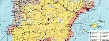 Горнопромышленная карта �спании (полезные ископаемые)