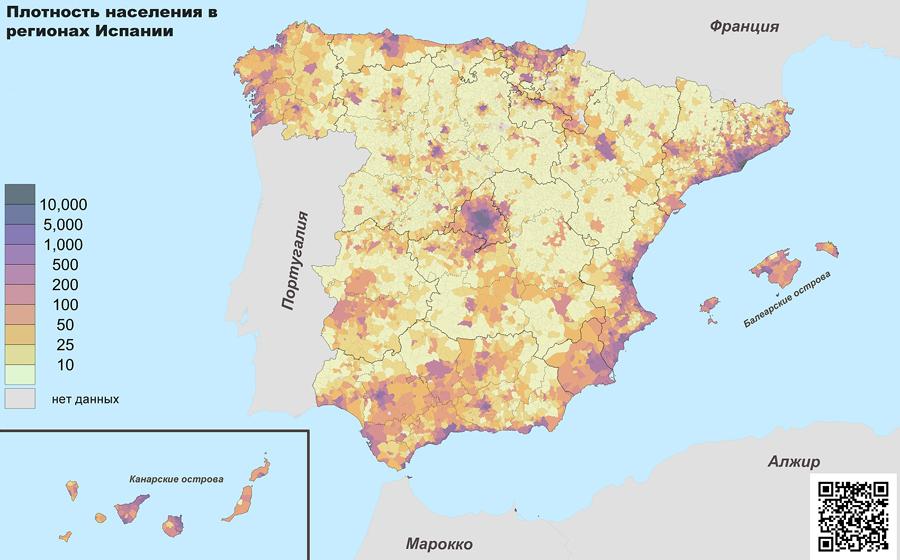 Карта плотности населения �спании (2018 г.)