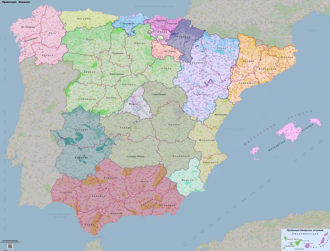 Административно-политическая карта �спании (провинции)